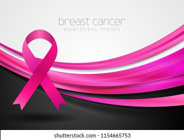 Breast cancer awareness month. Smooth silk pink waves and ribbon tape vector design