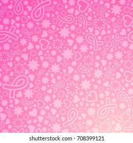 Breast Cancer awareness month vector illustration with many objects on gradient background