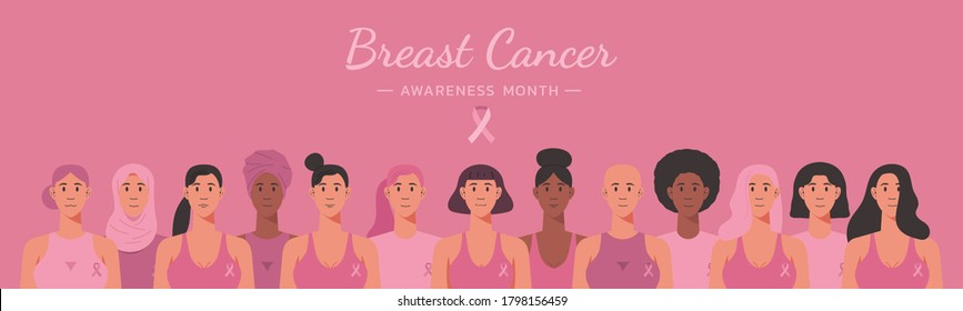 breast cancer awareness month web banner of diverse ethnic women group together with pink support ribbon concept, cartoon girl characters for disease prevention campaign, flat vector illustration