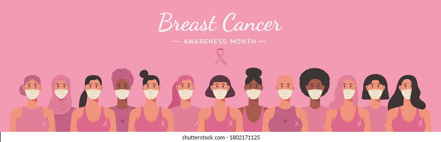 breast cancer awareness month web banner for disease prevention campaign of diverse ethnic women group together wearing face masks with pink support ribbon concept, vector flat illustration