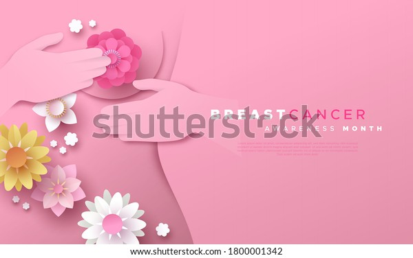 Breast Cancer awareness month web template illustration. Woman doing self examination in papercut style with spring flowers. Pink paper cut design for disease prevention or october support campaign.