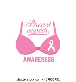 Breast cancer awareness pink card. Vector illustration. For poster, flyer or banner. Breast Cancer Awareness Ribbon on Bra. Pink brassiere. Breast Cancer Awareness design.