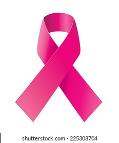 Breast cancer awareness pink ribbon on white background.