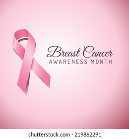 Breast Cancer Awareness Ribbon Background - File is layered, and colors are global swatches for easy editing.  File is EPS 10 with transparency.