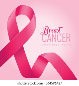 Breast cancer awareness ribbon background. October is month of breast cancer awareness in the world. Pink ribbon. Vector illustration