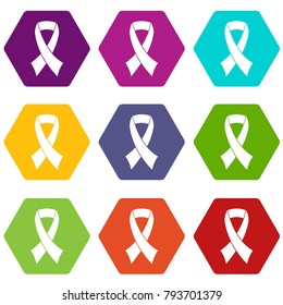 Breast cancer awareness ribbon icon set many color hexahedron isolated on white vector illustration