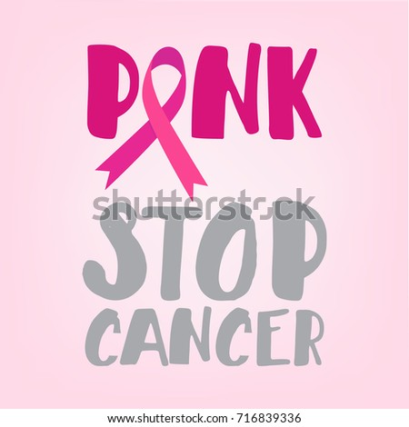 Breast Cancer Awareness Ribbon Symbol Hand Stock Vector Royalty