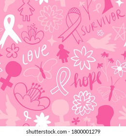 Breast Cancer awareness seamless pattern, pink spring doodle decoration background for women healthcare campaign. Includes ribbon, flowers, butterfly and inspirational words.