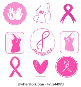 Breast cancer awareness symbols collection. Pink ribbons as support signs. Breast exam encouraging.