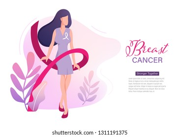 Breast cancer day international Landing Page Template.Women with ribbon People Characters for ui, web, mobile app, poster and banner.