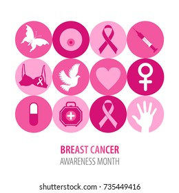 Breast cancer illustration of pink icons with  symbol ribbon.