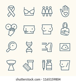 Breast cancer line icons