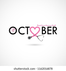Breast Cancer October Awareness Month Campaign Background.Women health vector design.Breast cancer awareness logo design.Breast cancer awareness month icon.Realistic pink ribbon.Pink care logo.Vector