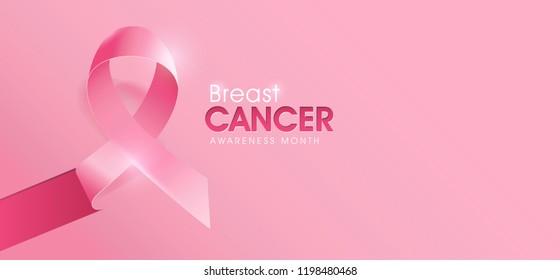 Breast cancer october awareness month pink ribbon poster background,vector illustration