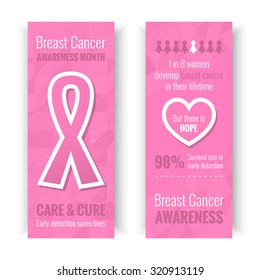 Breast Cancer October Awareness Month Campaign Banners or Cards. Healthcare and medicine concept with pink ribbon sign. Vector illustration