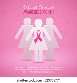 Breast Cancer October Awareness Month Campaign Background with paper girl silhouettes and pink ribbon symbol. Vector illustration