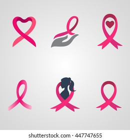 breast cancer ribbon logos set