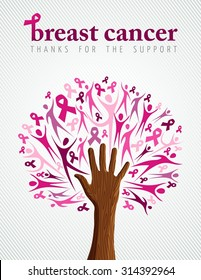 Breast cancer support illustration of tree made with pink silhouette and ribbon collage for poster or campaign. EPS10 vector file.