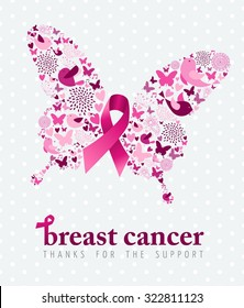Breast cancer support poster pink ribbon with spring icon elements as butterfly wings. EPS10 vector.