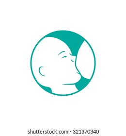 Breast feeding vector sign. Breastfeeding coalition emblem.