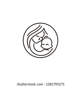 Breast feeding vector sign. Mother holding newborn baby in arms,symbol of woman breastfeeding baby. Mother breastfeeding her baby stylized symbol.