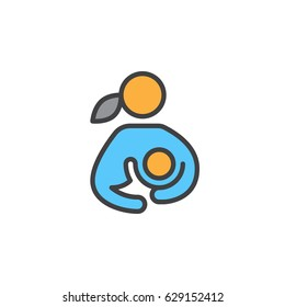 Breast feeding, woman breastfeeding her child filled outline icon, line vector sign, linear colorful pictogram. Symbol, logo illustration. Pixel perfect