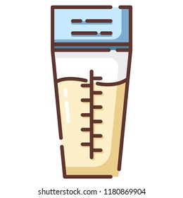 Breast milk storage bags vector illustration in line color design