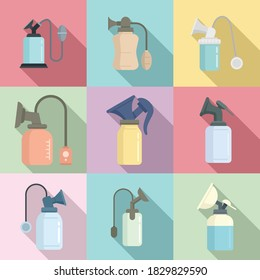 Breast pump icons set. Flat set of breast pump vector icons for web design