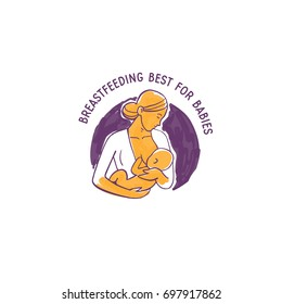 breastfeeding best for babies, isolated hand drawn vector art illustration icon,