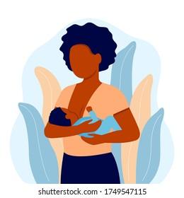 Breastfeeding, black mother feeding newborn baby with breast in hands. Child boy drinks milk from the female breast. Breast feeding, happy mother day. Lactation. Vector illustration