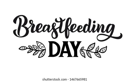 Breastfeeding Day emblem. Hand written lettering  vector linear contour flat logo for World breastfeeding week. Concept, template of support for motherhood. Card, poster, banner