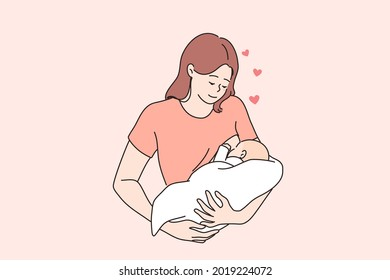 Breastfeeding, happy motherhood and childhood concept. Happy loving young woman mother feeding her baby with breast milk vector illustration
