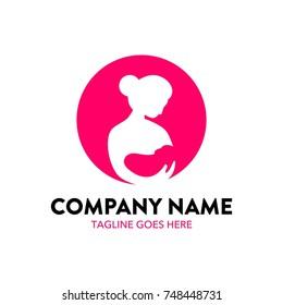 breastfeeding illustration logo. editable. vector