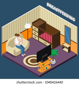 Breastfeeding isometric composition with woman during feeding infant sitting on sofa in home interior vector illustration
