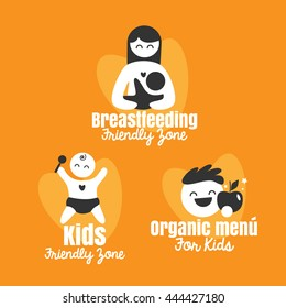 breastfeeding and Kids friendly zone vector symbol