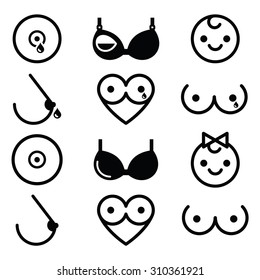 Breastfeeding, lactation, breast icons set
