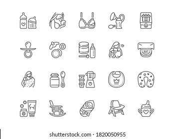 Breastfeeding line icons set. Mother breast feeding baby, powdered milk, pump, sling, infant food bottle sterilizer vector illustrations. Outline flat signs for motherhood, nursing room.