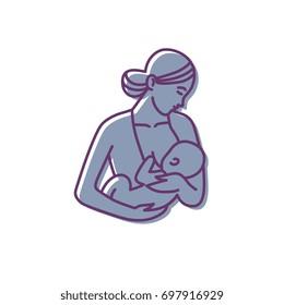 breastfeeding, mother and baby logo. vector motherhood icon