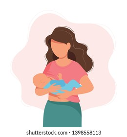 Breastfeeding - mother feeding a baby with breast. Concept vector illustration in cartoon style.