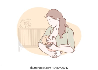 Breastfeeding, motherhood, childhood concept. New mom breastfeeding a newborn baby. A mother loves, cares, hugs her child. Simple flat vector.