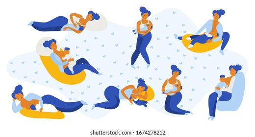 Breastfeeding position. Mother feeds baby with breast. Comfortable pose. Flat design vector illustration of breastfeeding concept. Colorful cartoon character mother feeding baby.