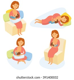 Breastfeeding position. Mother feeds baby with breast. Comfortable pose. Mom lactation infant milk. Motherhood and childhood.