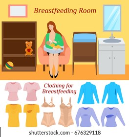 Breastfeeding room and clothes. Comfortable clothing for breast feeding. Blouses for mom during lactation