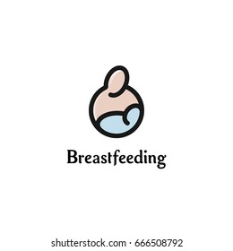Breastfeeding vector logo template. Black linear silhouette of pink mother and blue color baby. Maternal care for the newborn simple line art icon.