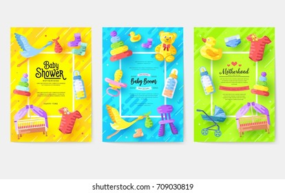 breastfeeding week information cards set. kids elements template of flyer, magazines, posters, book cover, banners. Child infographic concept background. Layout illustrations modern pages