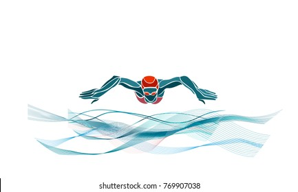 Breaststroke Swimmer Female Silhouette. Sport swimming