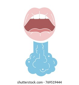 Breath design concept. Open mouth with steam.Fresh breath icon in flat style.Cavity oral mouth. Outline vector cartoon style. Color concept art. mint smell, good smell aroma with star