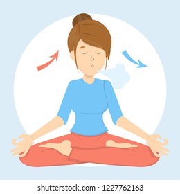 Breath exercise for good relaxation. Breathe in and out for relax. Deep breathing method and body scan. Isolated flat vector illustration