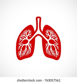 Breath lungs vector icon illustration isolated on white background