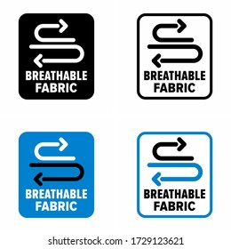 """""""Breathable fabric"""" moisture vaporing ability information sign"""